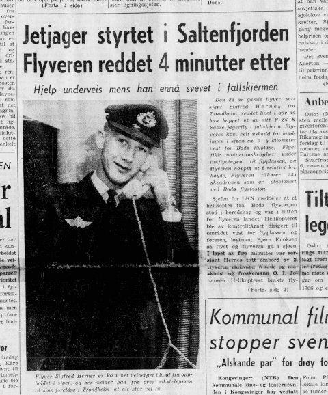 Faksimile NP 16. oktober 1965. Bildet viser at Siegfried melder fra over rikstelefon til foreldrene i Trondheim at alt står vel til, dagen etter ulykken.