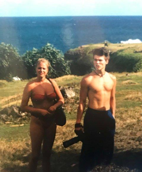 FERIE: Tittin Wold sammen med Morten Harket på ferie på Hawaii.