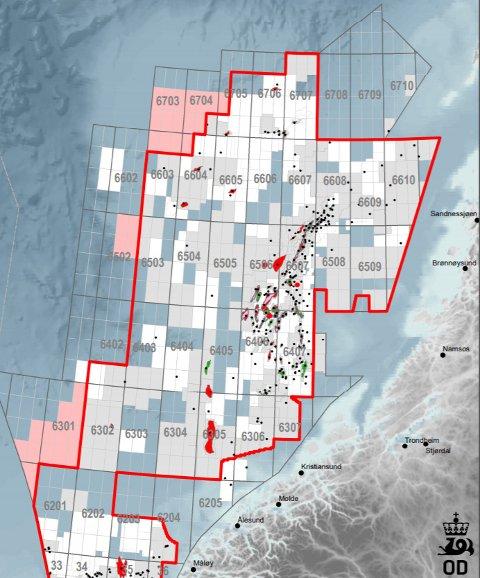 Kart over eksisterende TFO-område i Norskehavet, samt departementets forslag til utvidelse i forbindelse med TFO 2020.