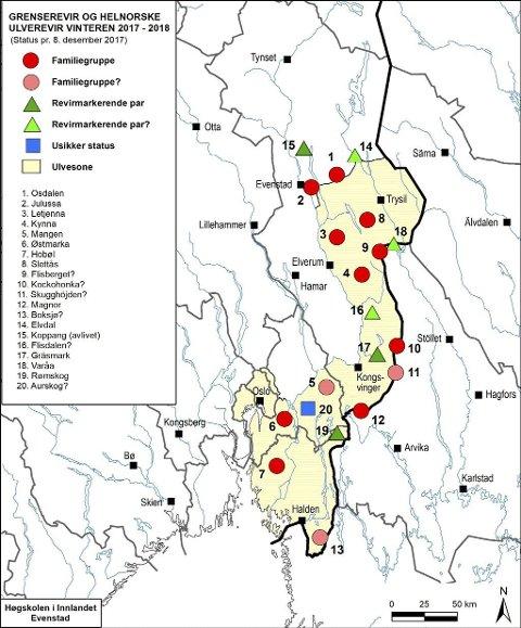 Ulverevirene: Her er de helnorske ulverevirene, samt grenserevirene. Sporing så langt i vinter viser at det er rundt 90 ulver i Norge. Kart: Høgskolen i Innlandet, Evenstad