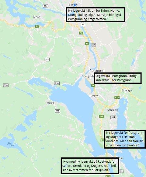 TRØBBEL: Som vanlig når det diskuteres legevakt i Grenland så er det trøbbel om lokalisering. For alle vil jo egentlig ha den i egen kommune.