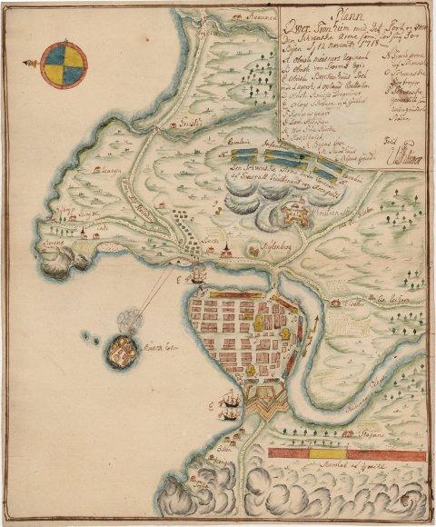Kart over karolinernes beleiring av Trondheim av 2. november 1718. Peder Arntzen Storch som bodde i Nordfargate var med sitt væpnede skjærgårdsfartøy aktiv i forsvaret av Trondheim under ledelse av general Vincetns Budde.
