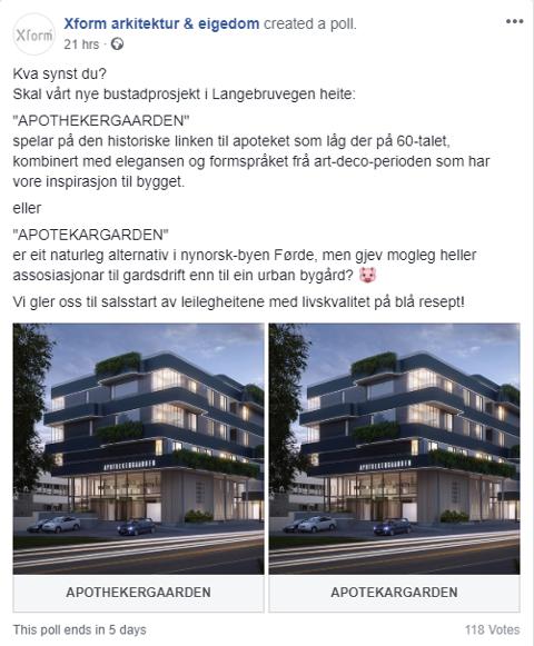 NAMNEVAL: Kva skal garden heite? Xform har fått både positive og kritiske kommentarar til namnevalet Apothekergaarden. No ber dei innbyggarane i Førde om å bestemme.