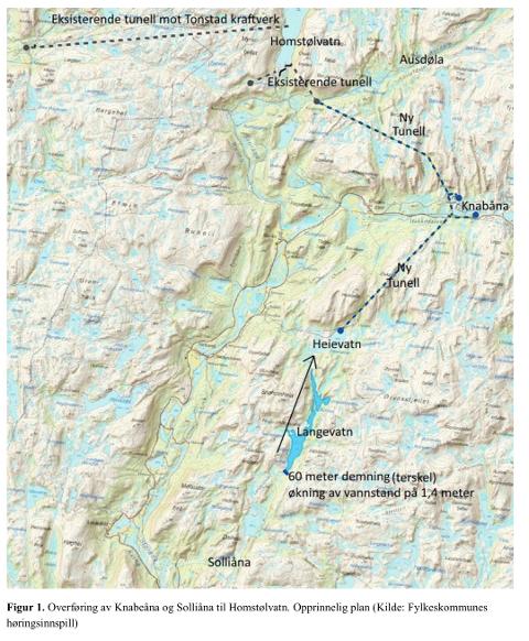 ANBEFALT: Det er denne overføringen av Knabeåna og Solliåna til Homstølvatn som NVE nå anbefaler. Det er Olje- og energidepartementet som avgjør saken.