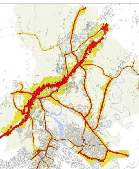 Støykart: Dette kartet viser beregnet støy langs riks- og fylkesveier i Skedsmo. Gul farge indikerer over 55 desibel, mens rød indikerer over 65 desibel. Illustrasjon: Statens Vegvesen