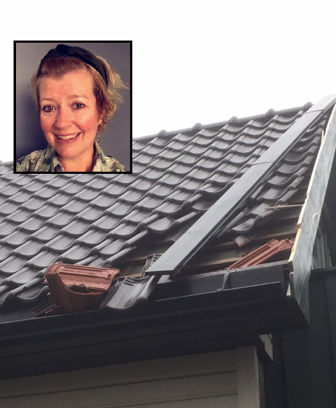 STAKK AV: Elin Øverli Jacobsen og familien synes det er frustrerende at personen som kjørte på garasjen stakk av og ikke tar ansvar.