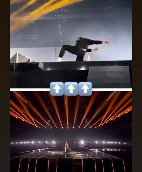 På sekundet: Timing var essensielt for manager Christoffer Gunnestad da skjørtet skulle av, og kjolen skulle gjøres om til magetopp og bukse under fjorårsvinner Ulrikke Brandstorps åpningsnummer på «Melodi Grand Prix» lørdag.