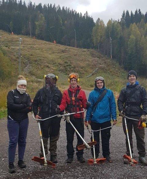 JOBB I HØSTFERIEN: Varingskollen Alpinsenter og gruppen Bevar Varingskollen vil tilby 12 til 15 ungdommer over 16 år jobb i høstferien. Bildet er fra tilsvarende arbeid for to år siden.