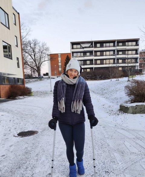 Maria Tviberg må gå med krykker i stedet for å kjøre VM de kommende ukene. Hun er likevel optimist med tanke på neste sesong.