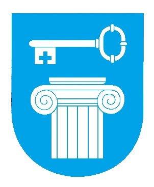 Warhuus forslag nummer 1: Kapitél og nøkkel - vesentlig forenklet byvåpen.