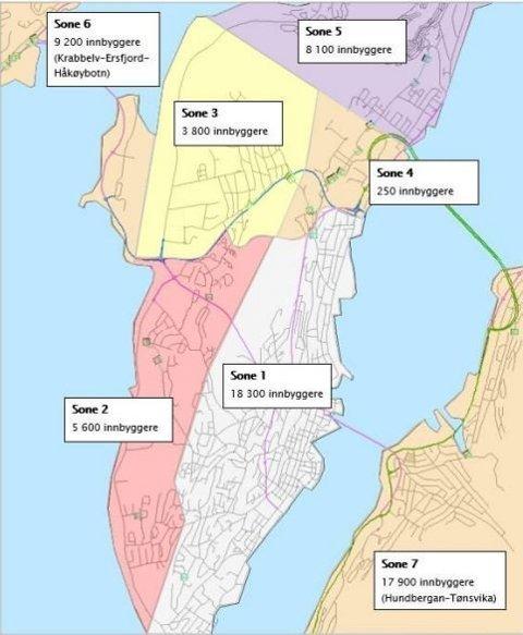 BOM-FORSLAGET: Slik blir bompengesystemet i Tromsø, hvis kommuneadministrasjonens forslag går gjennom.