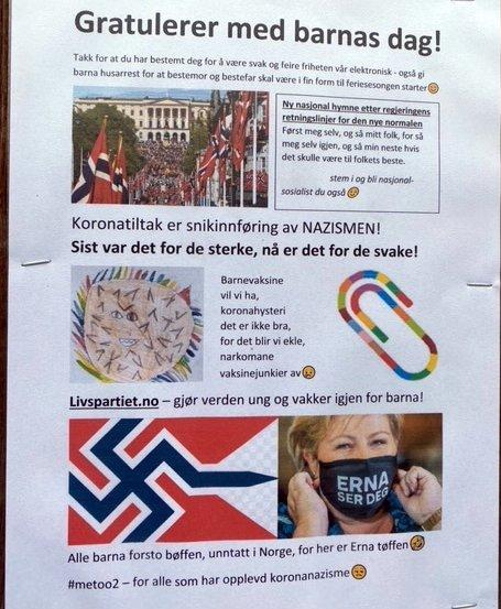 Denne type propaganda er hengt opp flere stedet på Lura og i områdene rundt Forus.