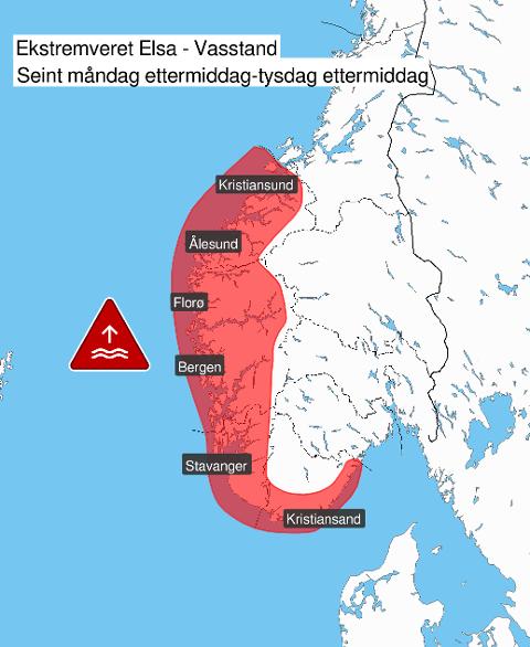 VARSEL OM SVÆRT HØG VASSTAND: Ekstremvêret Elsa gir høg vasstand på Sør- og Vestlandet i starten av veka.