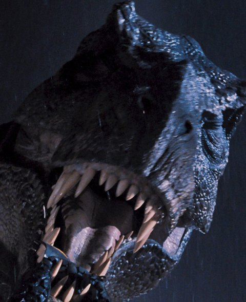 Originalen: T Rex fra den originale «Jurassic Park» fra 1993.Foto: filmweb.no