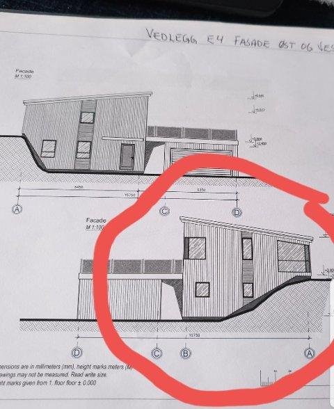 Bilde 2: Tegninger av bolig som ble presentert naboer, og vedlagt søknad om byggetillatelse.