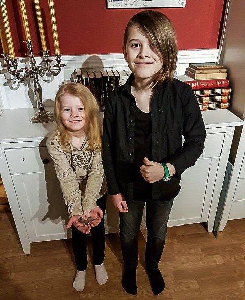 FIKK HJELP: Det gjorde stort inntrykk på Nora (6) og Sebastian (9) Tangen da en ukjent dame valgte å betale kronene de manglet for å kunne kjøpe bakevarer til vennen sin.