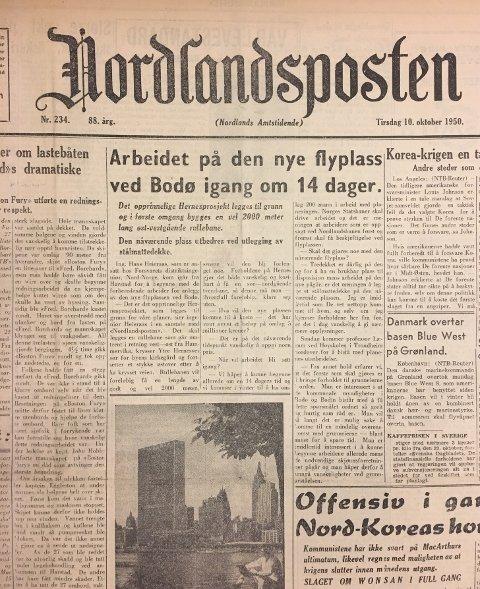 Forsiden av Nordlandsposten tirsdag den 10.oktober i 1950.