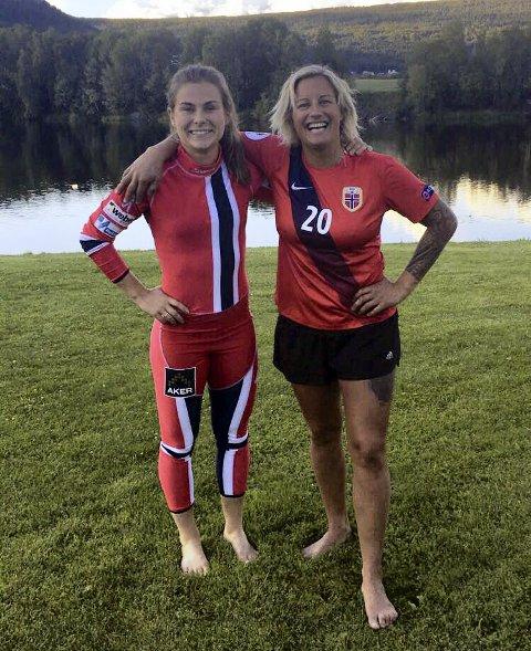 For Norge – i hver sin idrett: Emilie Haavi (t.v.) og Vibeke Skofterud var svært gode venninner. Nå sørger LSK Kvinner-spilleren over langrennsvenninnens tragiske bortgang. Foto: Privat
