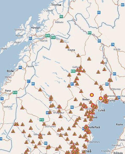 VÆR OBS: Her er det veiarbeide i Nord-Sverige denne sommeren, i følge svenske veimyndigheter. Kart: Trafikverket.