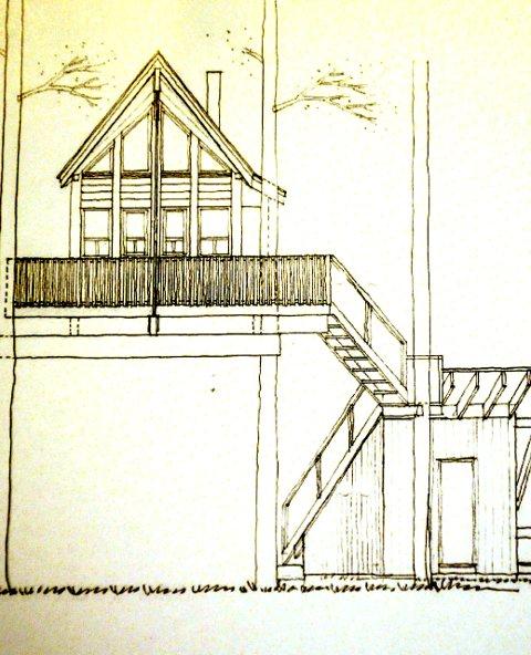 TEGNING:  Her en tegning som viser hvordan utbygger har tenkt seg e nye tretopphyttene