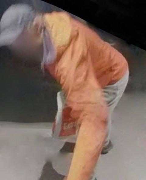 MYSTISK SKIKKELSE: Politiet har fått dette bildet av en mann som setter kryss ved en inngangsdør i Vormedal- og Moksheim-området.
