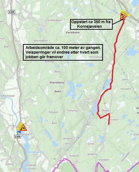 ARBEID: Høyspentledningen i Skauskrokveien skal legges i bakken.
