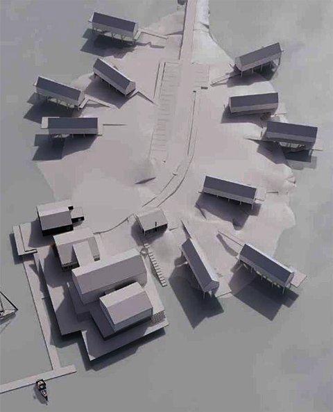 Mulighetsstudie: Slik er ett av alternativene for hvordan  bygningsmassen på Buvåg kan bli når planene er fullførte. Byggene nede i venstre bildekant utgjør den eksisterende bebyggelsen.