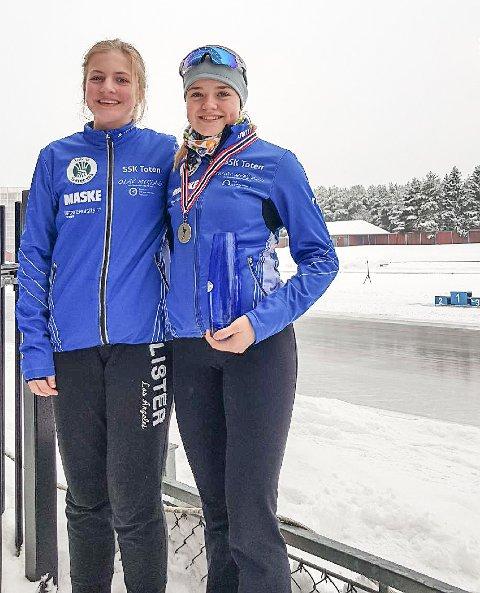 GOD INNSATS: Ingrid Håkegård Eichler (t. v) og Kari-Celine Reiss-Jacobsen leverte en god innsats i LM på skøyter.