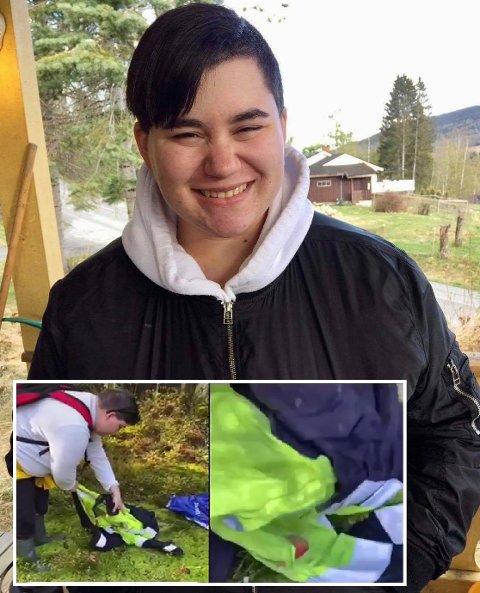 KAN LE I ETTERTID: Nadia Marie Løvli Andreassen trodde den stinkende jakka hun fant på skogstur var full av blod og fryktet noe alvorlig hadde skjedd. Da politiet sjekket saken, viste det seg at det var bærsaft og mugg.