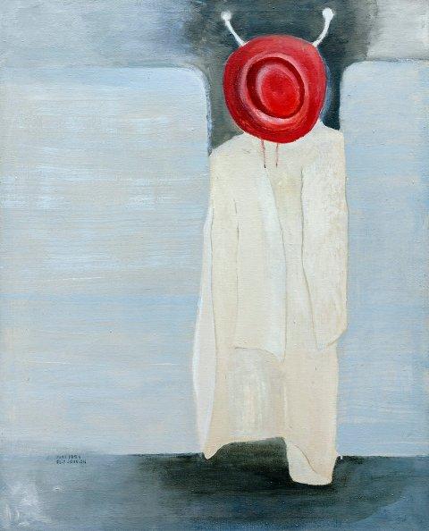 """FØRSTE KViNNE: Ellí Mathilde Novvale var den første samiske kvinne som fikk kunstutdanning. Kunsten hennes ble med tiden sterkt skulpturelt preget. Dette bildet heter """"Fra en togreise"""" og er fra 1974."""