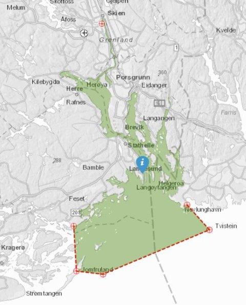 ANSVARSOMRÅDET: Det grønne området viser hvor VTS i Brevik har ansvar for å følge med på trafikken. Det er et betydelig større område enn før Full City havarerte.