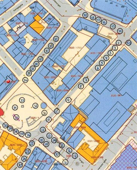 OPPSTILLING: Kart over oppstillingen til Borgertoget i Larvik 17.mai.
