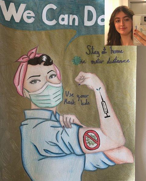Lara Rashid (13) er innfelt oppe til høyre i bildet. Tegningen har hun laget hjemme ved hjelp av digital undervisning.