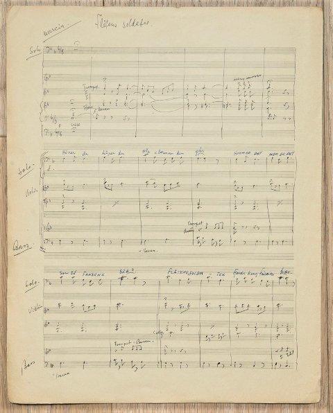 Komponist Erik Madsens originalnoter fra 1932 til marsjen «Flåtens soldater».