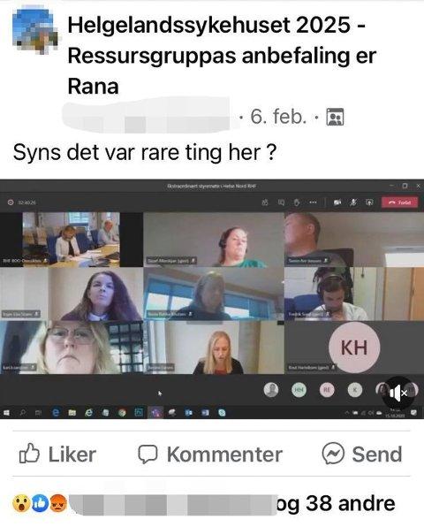 Skjermdump fra Facebook i forbindelse med at et videoklipp av styremedlem Svenn Are Jenssen (øverst til høyre) fra et ekstraordinært styremøte  i Helse Nord 15. oktober, gir ny grobunn for spekulasjoner.
