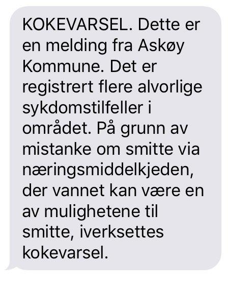 I forbindelse med at det er frykt for smittefarlig vann etter flere alvorlige sykdomstilfeller i Askøy, ble denne SMS-en sendt ut til alle innbyggerne i kommunen.