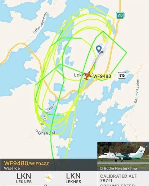 RUNDT OG RUNDT: Widerøeflyet tok mange rundt flyplassen på Leknes