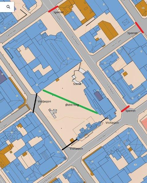 KART OVER OMRÅDET: Slik stenger og kontrollerer politiet Østre torg i forbindelse med lørdagens markering. Kart: Politiet