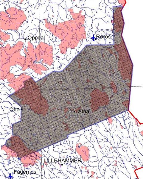 Det aktuelle måleområdet i Fjellregionen. De røde feltene viser verneområder der det må tas spesielle hensyn slik at ulempe for dyreliv og turisme blir holdt på et minimum.
