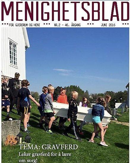 Omtale: Menighetsbladet for Gjerdrum og Heni sokn hadde i sommer et eget temanummer for gravferd. Her var skoleopplegget omtalt.