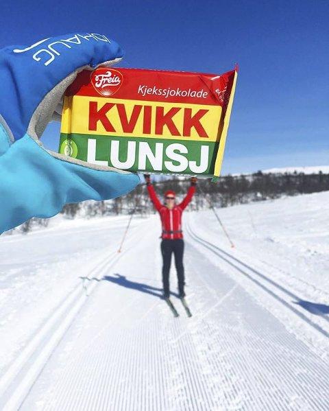3. PÅSKEFERIE: Kvikklunsj og skitur slår aldri feil. Foto: Camilla Granlien