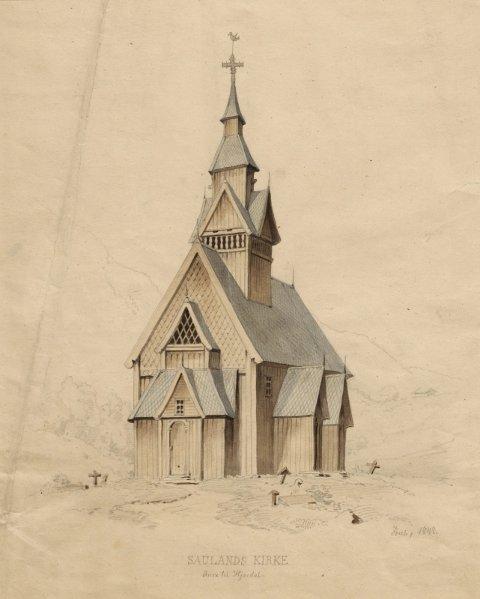 SAULAND STAVKIRKE: Landstad forsøkte, men klarte ikke å redde denne kirken i Hjartdal. Den ble revet i 1860. Det eneste som er bevart er en portal med utskårne drager. Kunstneren Joachim Frich fikk imidlertid tegnet kirken noen år før den forsvant. FORTIDSMINNEFORENINGENS ARKIV
