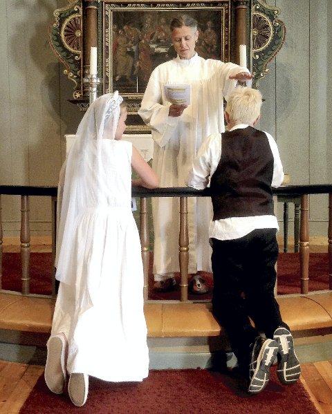 FIKK PRØVE: En prøve på hvordan det er å gifte seg i kirken. Bildet er fra Hillestad kirke. Alle foto: Privat