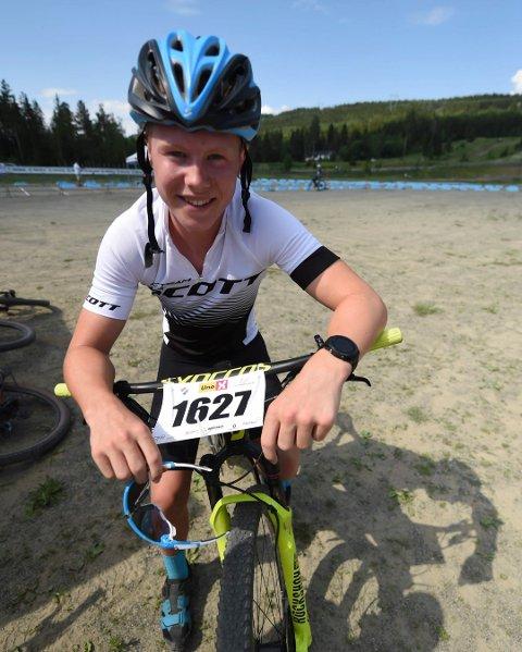 FORNØYD: Magnus Tobiassen var fornøyd med debuten i terrengsykkelløypa.