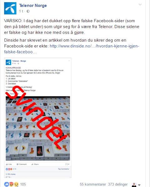 Her er posten Telenor la ut på sin Facebook-side i ettermiddag.