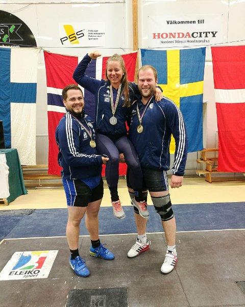 MEDALJEVINNARANE: Fv. Sindre Rørstadbotnen, Marit Årdalsbakke og Vebjørn Varlid. (Ine Andersson var reist då bildet vart tatt).