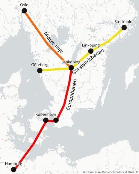 Kristoffer Hagen foreslår at Norges høyhastighetslinje kan koble seg til den svenske i Jönköping, og det derfra gir forbindelse til de store svenske byene og Europa.