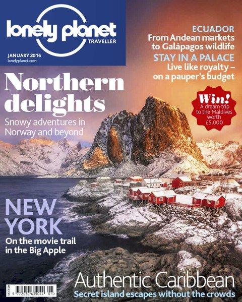 Cover: Slik presenter Lonely Planet sitt siste magasin med et trolsk bilde fra Lofoten på førsteside.