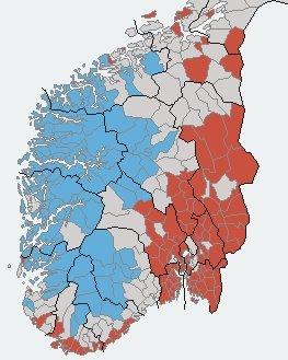 Kommunespråk-kartet: Kommunar som har blå farge på dette kartet har nynorsk administrasjons- og opplæringsmål, kvite er nøytrale og dei med raud farge har vedtak om bokmål.