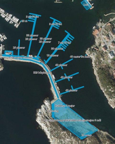 Illustrasjon av utvikling småbåthavn i Melingsholmen ble sendt sammen med innspillet til kommuneplanen i mars 2018.